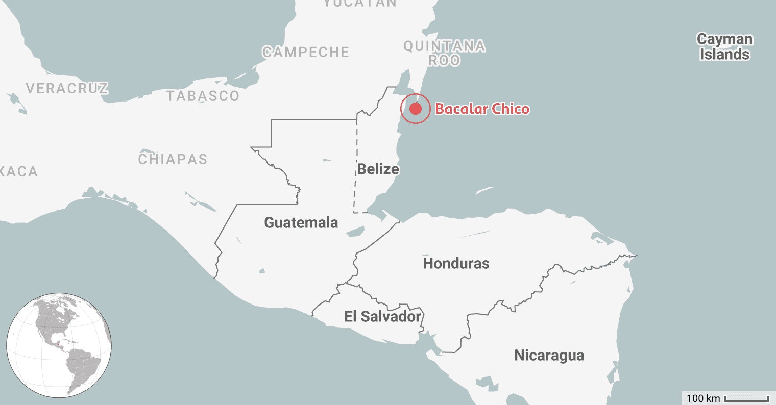 Map of the Best Place to Dive in Belize