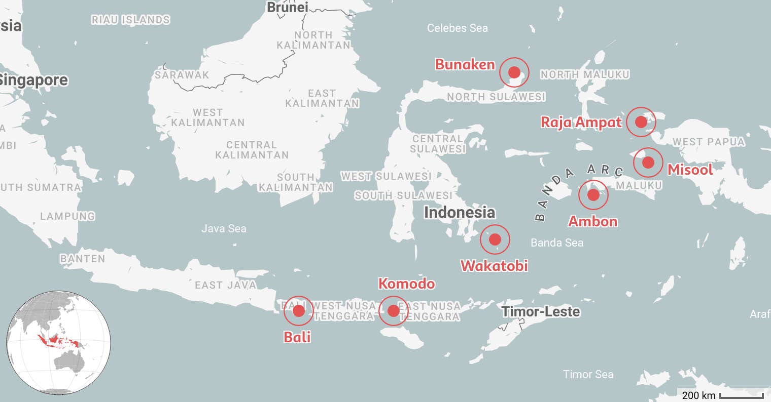 We Mapped the 7 Best Places to Dive in Indonesia