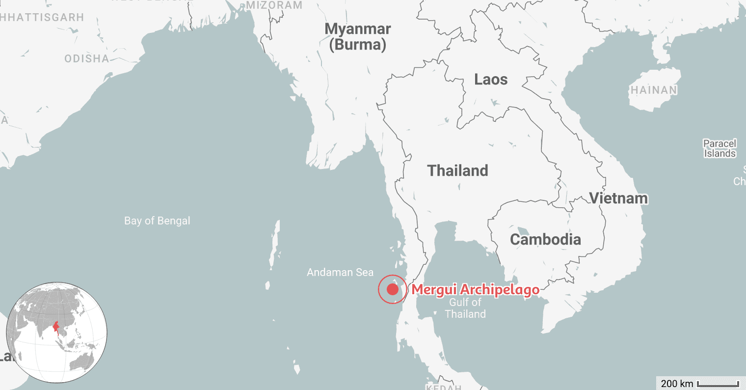 Map of the Best Place to Dive in Myanmar